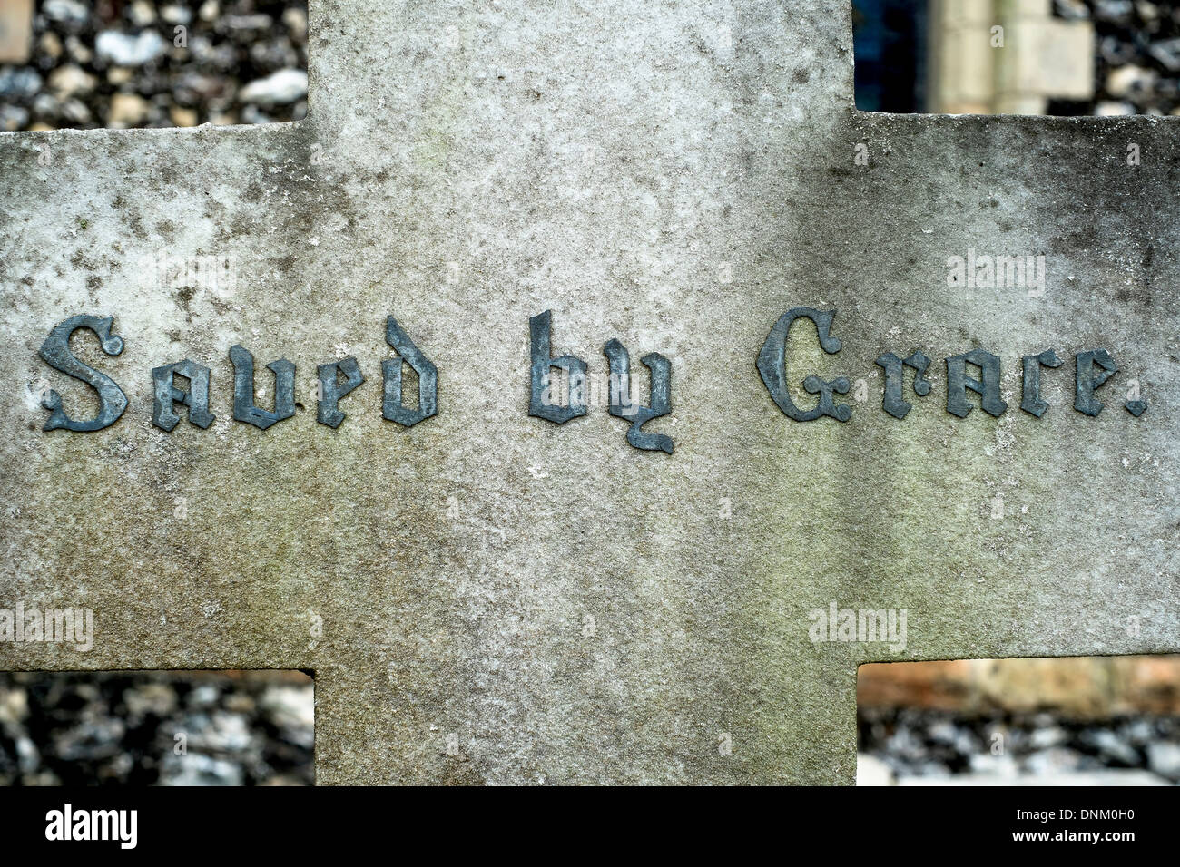Saved by Grace headstone, Worthing. Picture by Julie Edwards - Stock Image