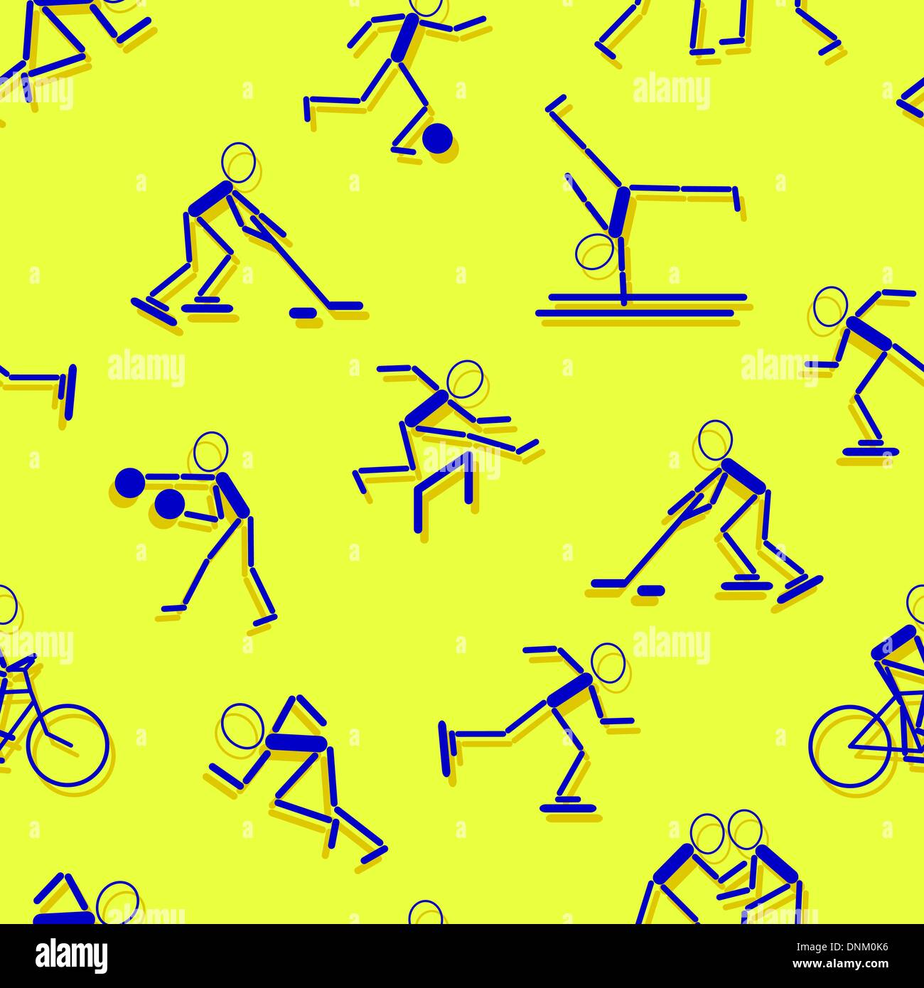 sport icons. Seamless wallpaper. - Stock Image