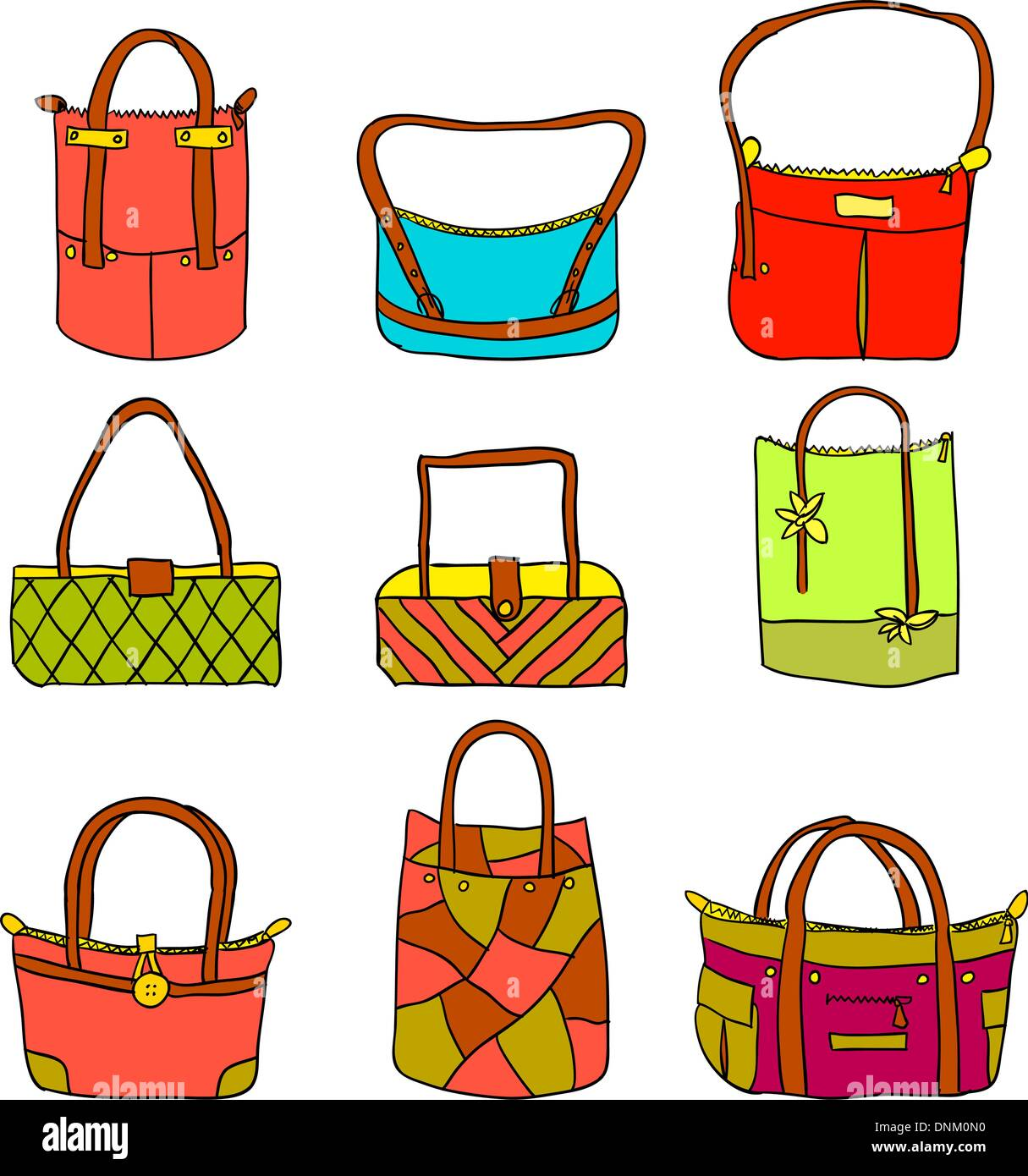 vector collection of woman's accessories - Stock Image