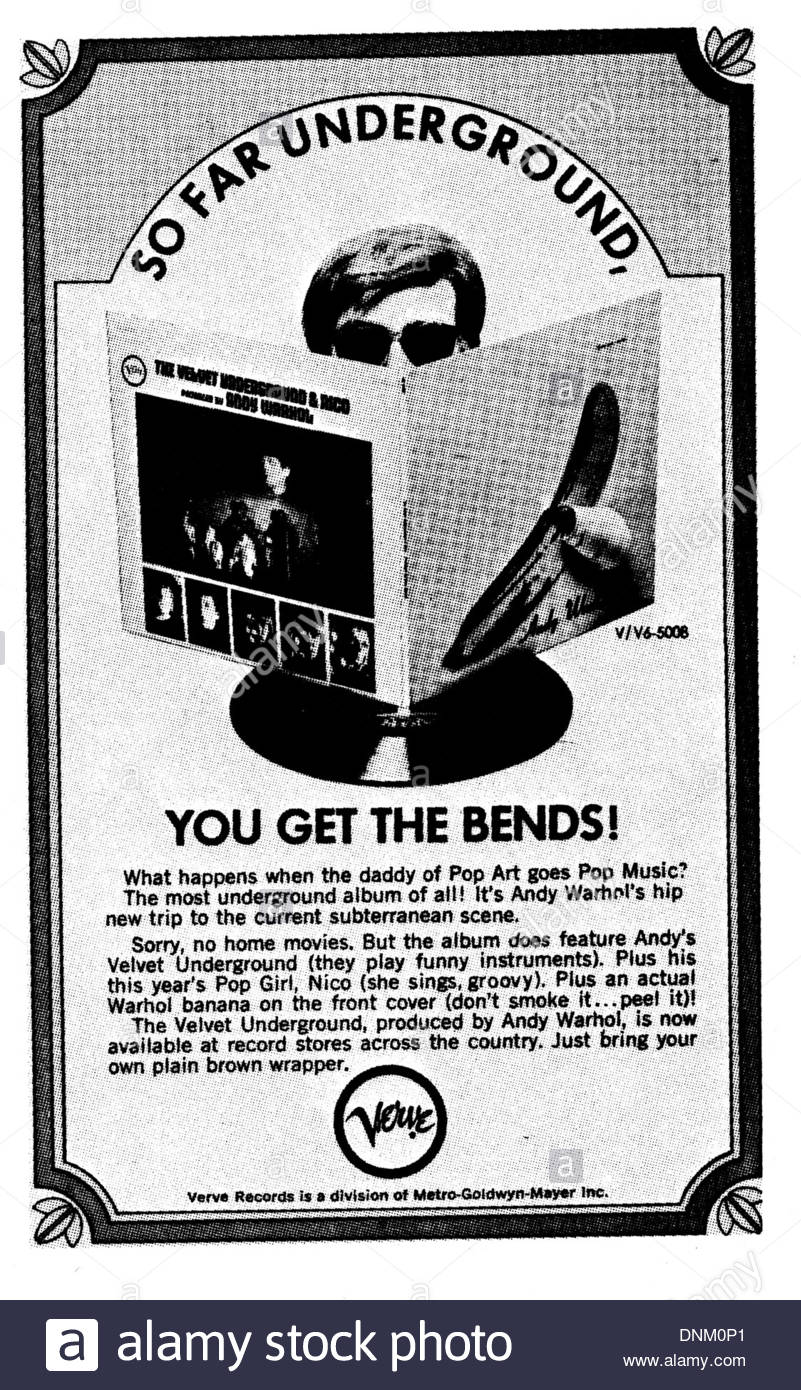 VELVET UNDERGROUND print ad with ANDY WARHOL - Courtesy Granamour Weems Collection.  Editorial use only. - Stock Image