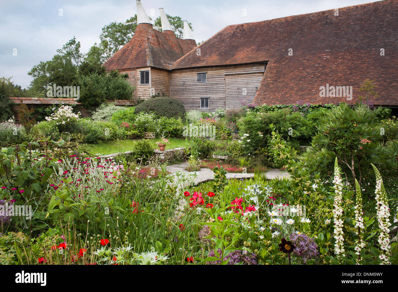 Summer borders at Great Dixter, Sussex. Stock Photo