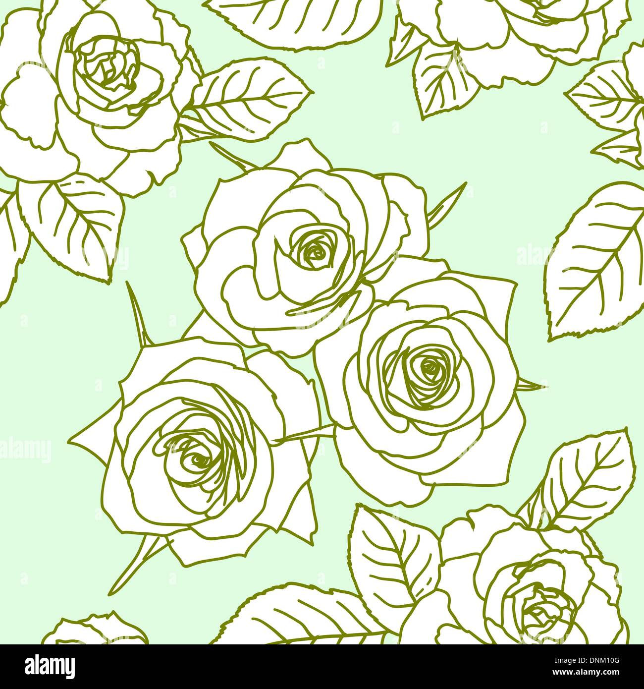 Seamless wallpaper with rose flowers - Stock Image