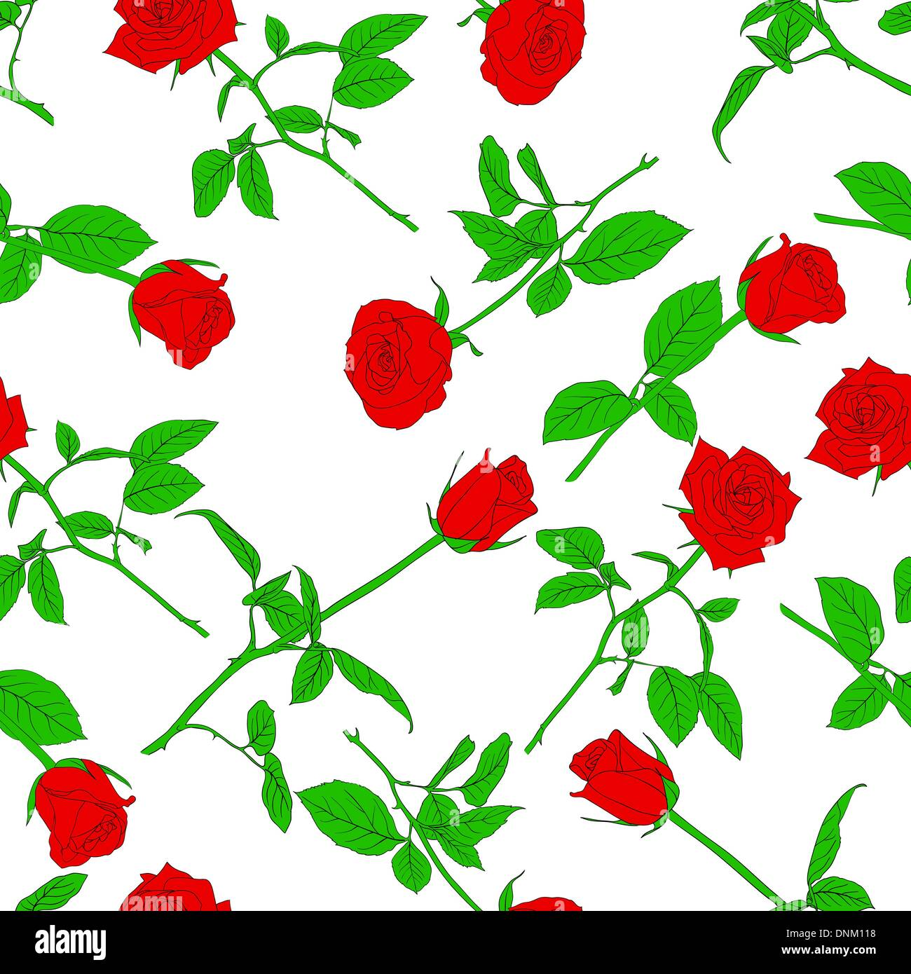 Seamless  background with roses. Could be used as seamless wallpaper, textile, wrapping paper or background - Stock Image