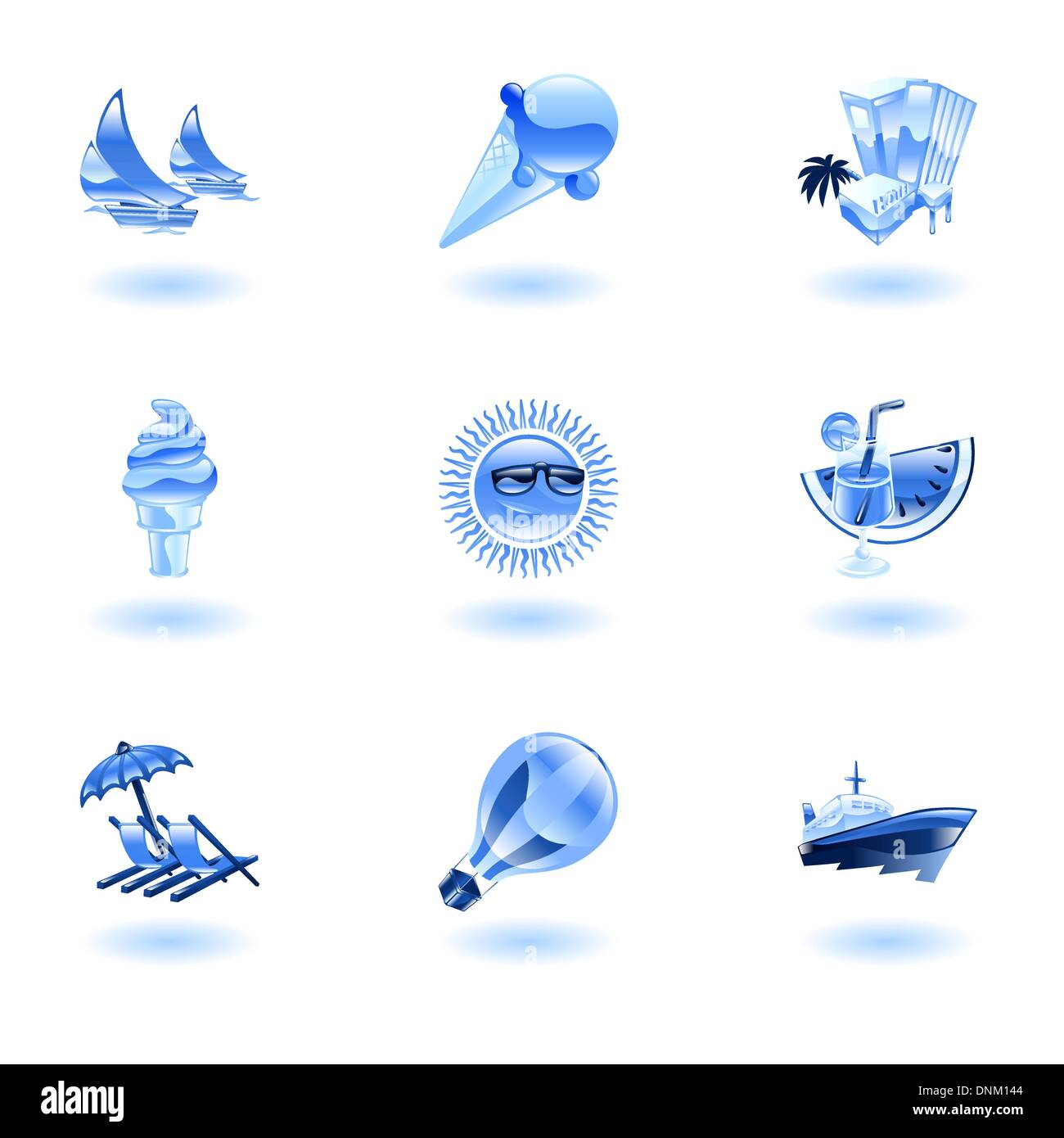 A set of glossy sunny summer icons Stock Vector