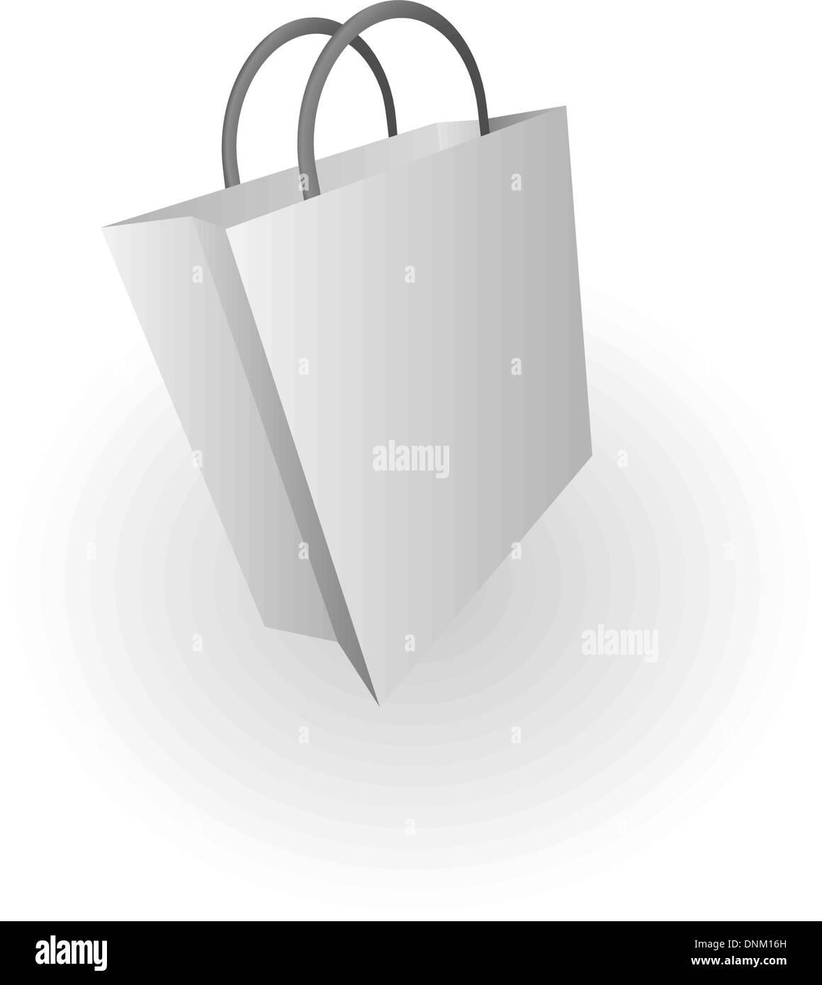 Illustration of silver shopping bag - Stock Vector