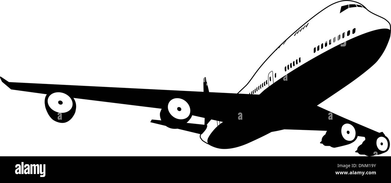 A black and white illustration of a stylised commercial jet plane - Stock Image