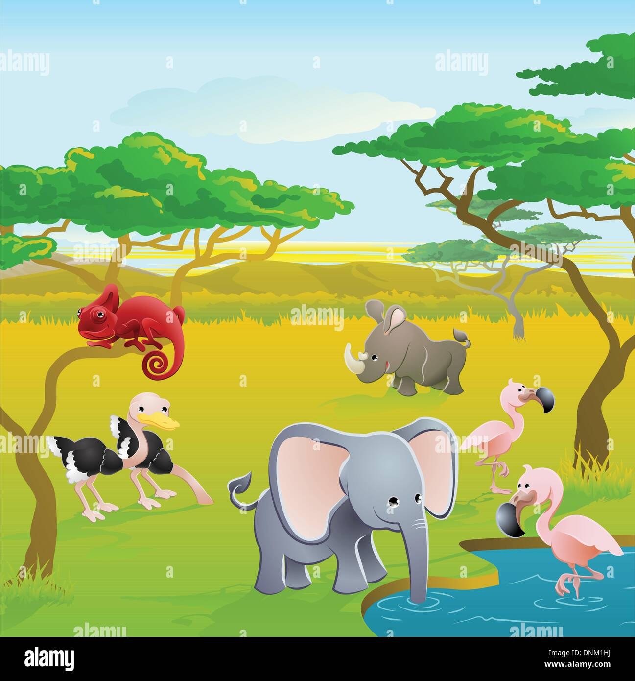 Cute African Safari Animal Cartoon Characters Scene Series Of Three Illustrations That Can Be Used Separately Or Side By Side T Stock Vector Image Art Alamy