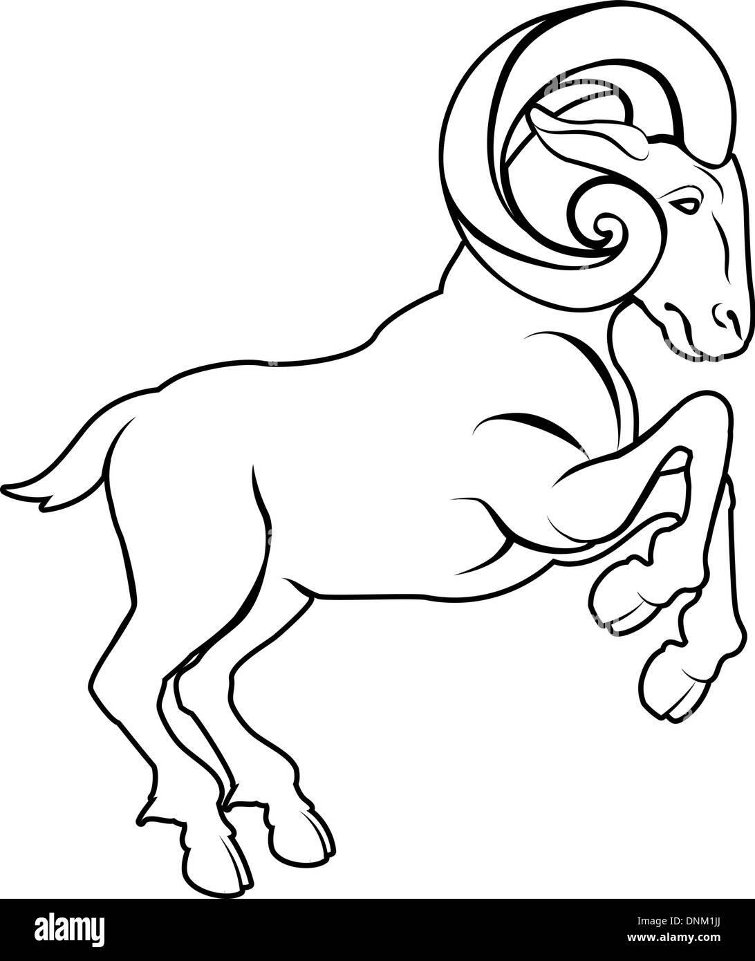 An illustration of a stylised black ram or sheep perhaps a ram tattoo - Stock Image