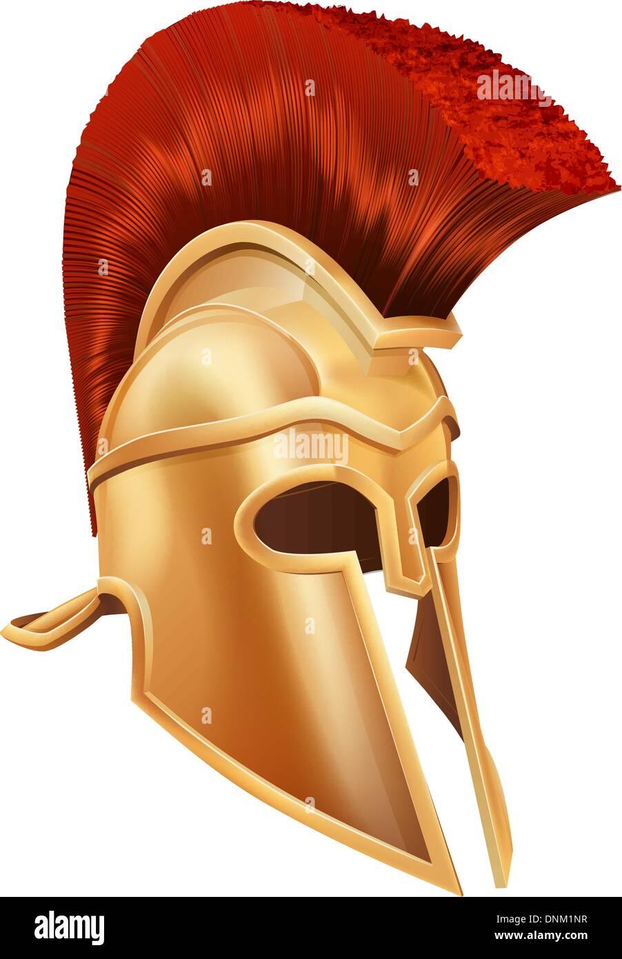 Illustration of a bronze Trojan Helmet, Spartan helmet, Roman helmet or Greek helmet. Corinthian style. - Stock Vector
