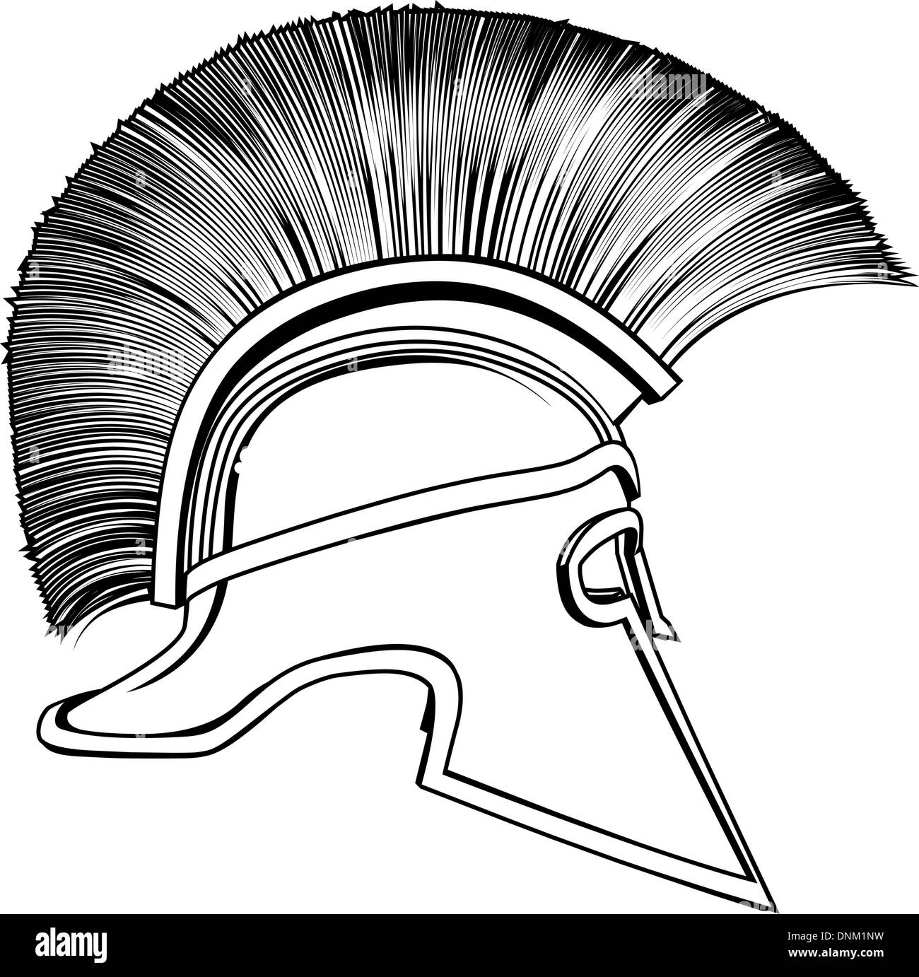 Black And White Illustration Of A Side On Ancient Greek Warrior