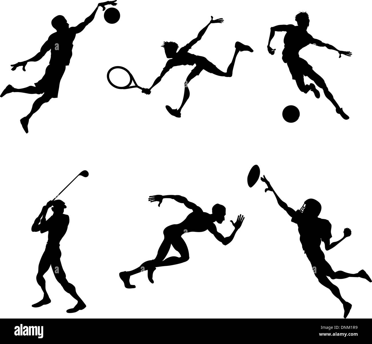 A set of stylised Sports players silhouettes - Stock Image