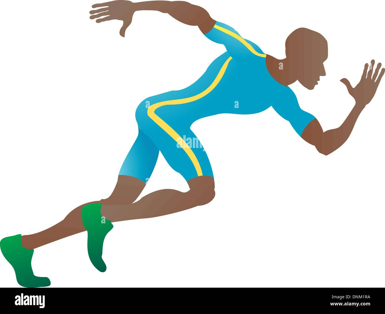 An illustration of a stylised sprinter running in profile - Stock Vector