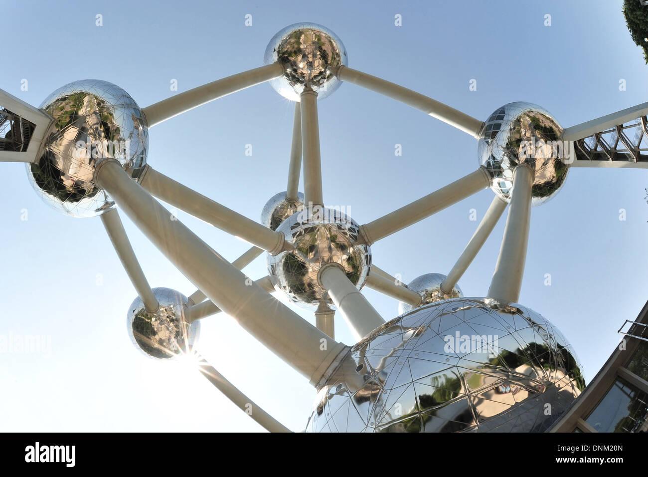 Brussels, Belgium, the Atomium gleams in the sunlight - Stock Image
