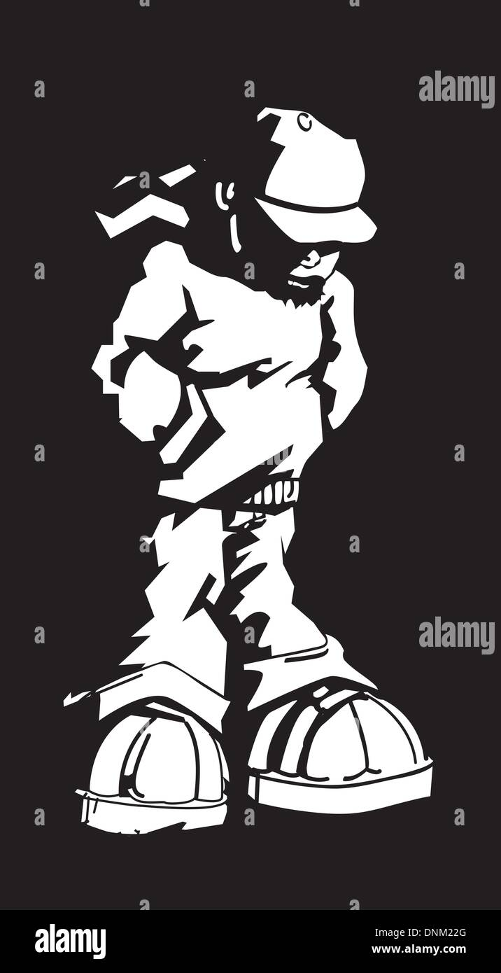 Black and white illustration of young man wearing a cap and hoodie - Stock Vector