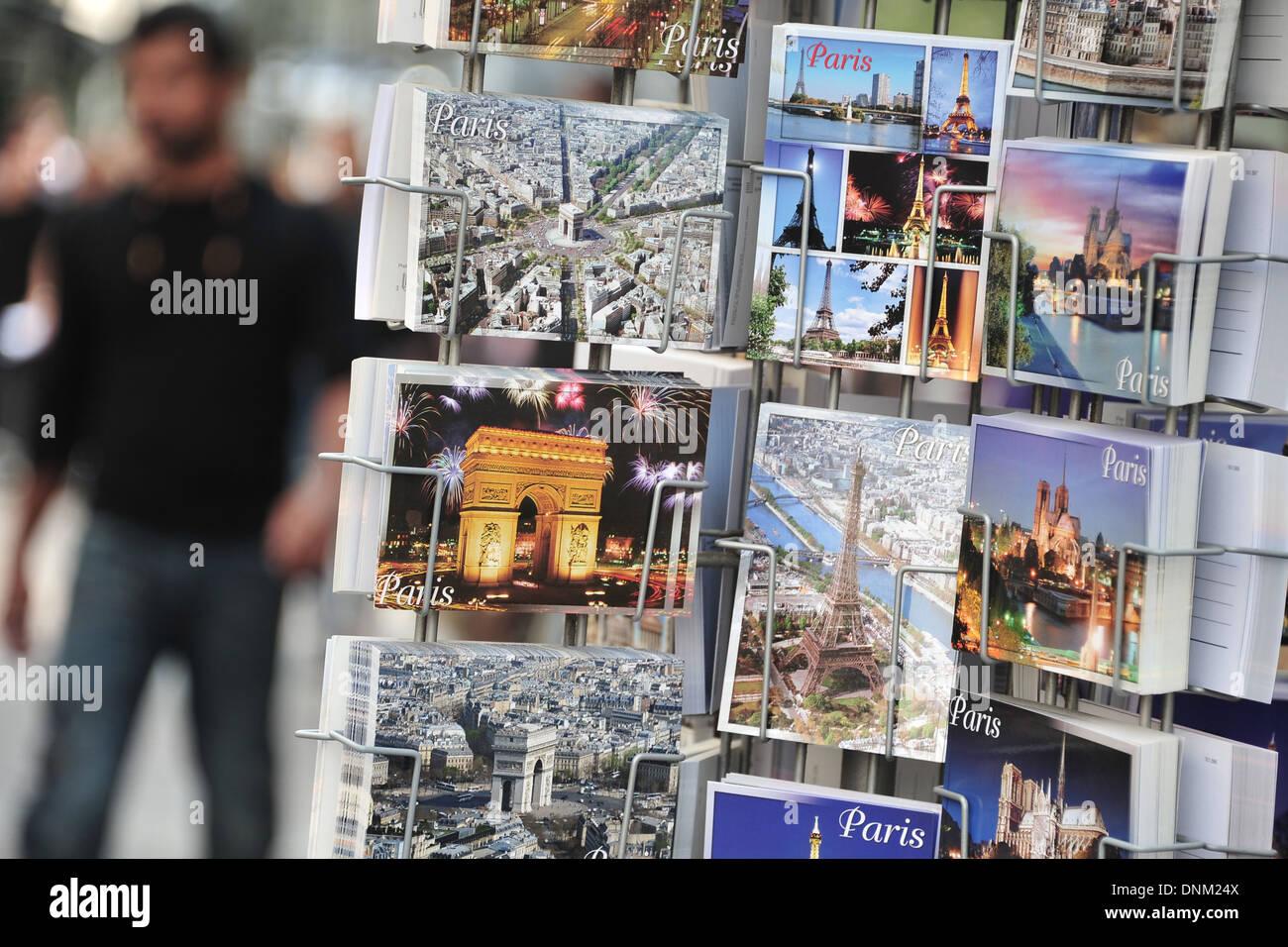 Paris, France, sale of postcards - Stock Image