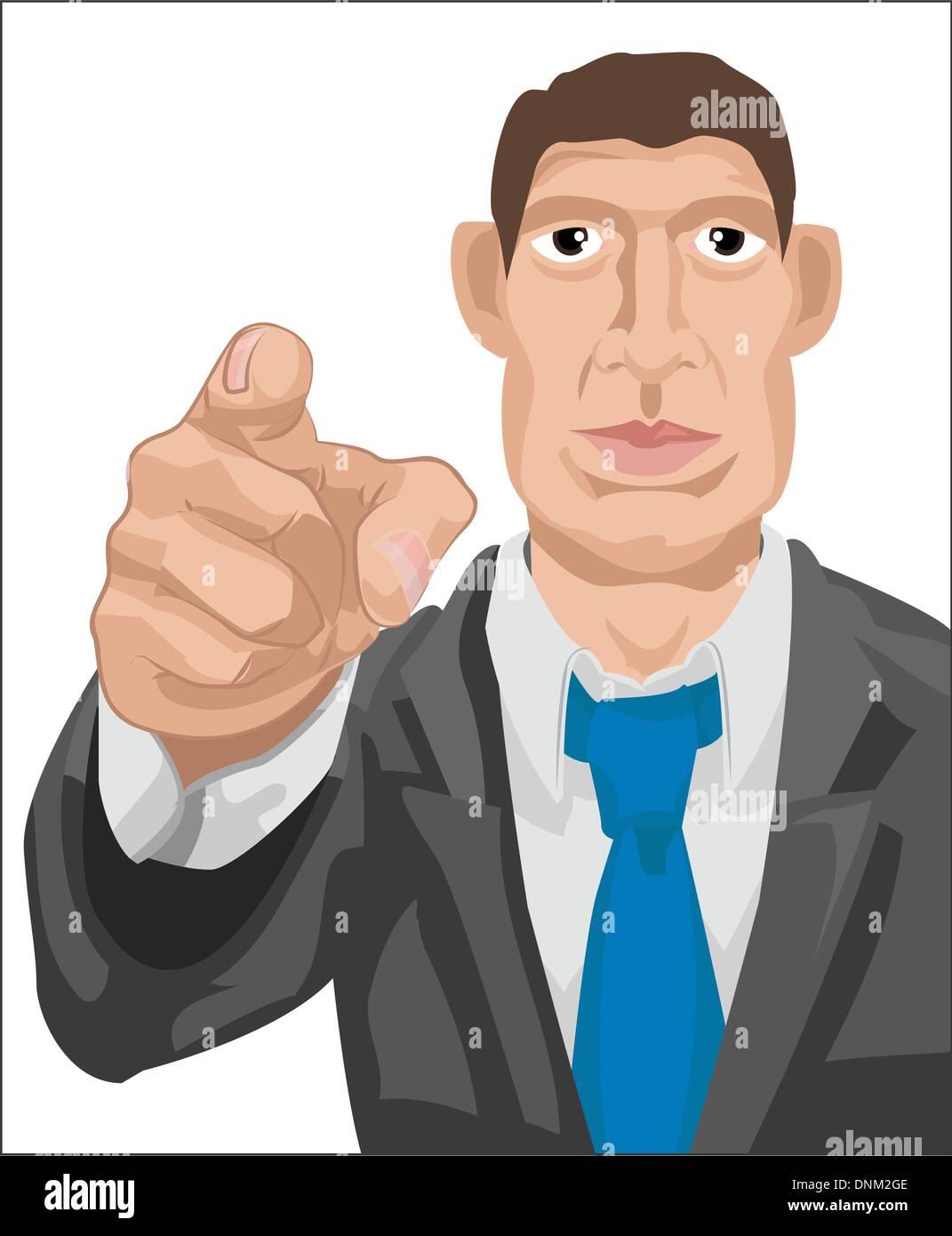 business man pointing    Vector art in Adobe Illustrator 8