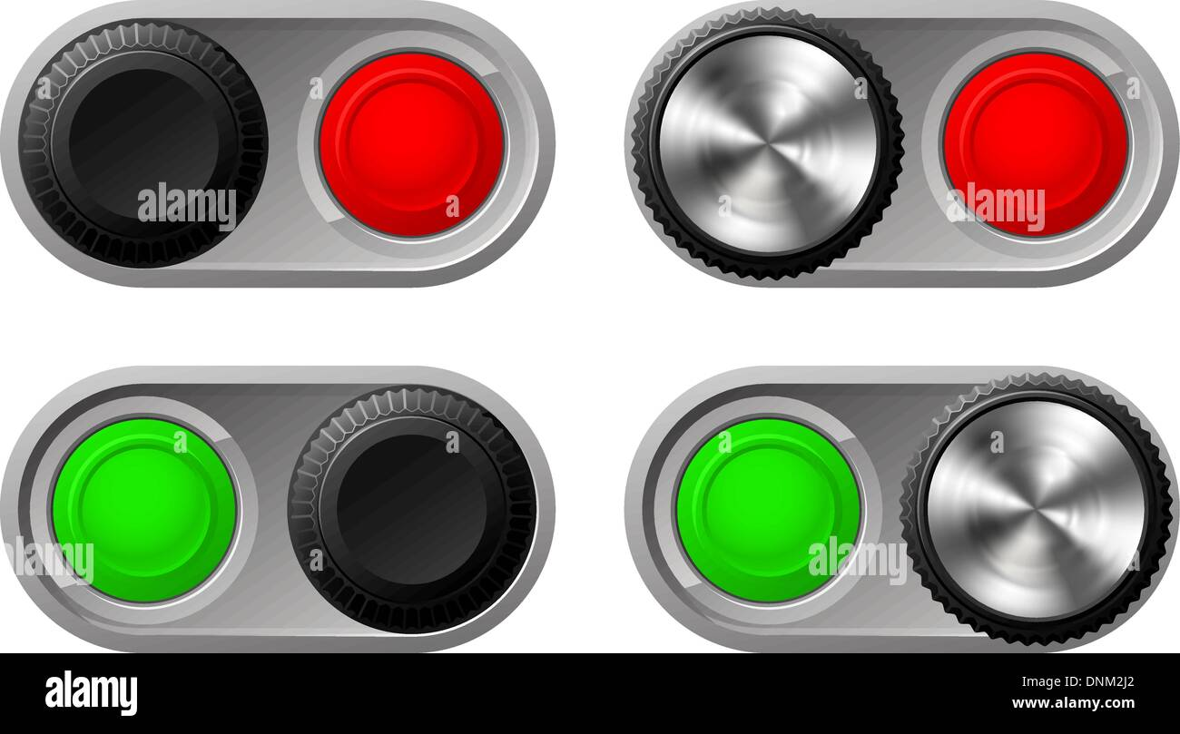 Illustration of toggle switches in both settings with green and red lights - Stock Vector