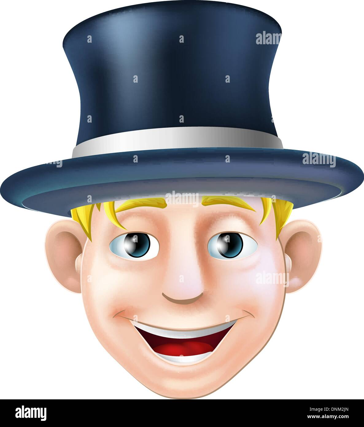 An illustration of a cartoon character wearing a top hat or stove pipe hat - Stock Vector