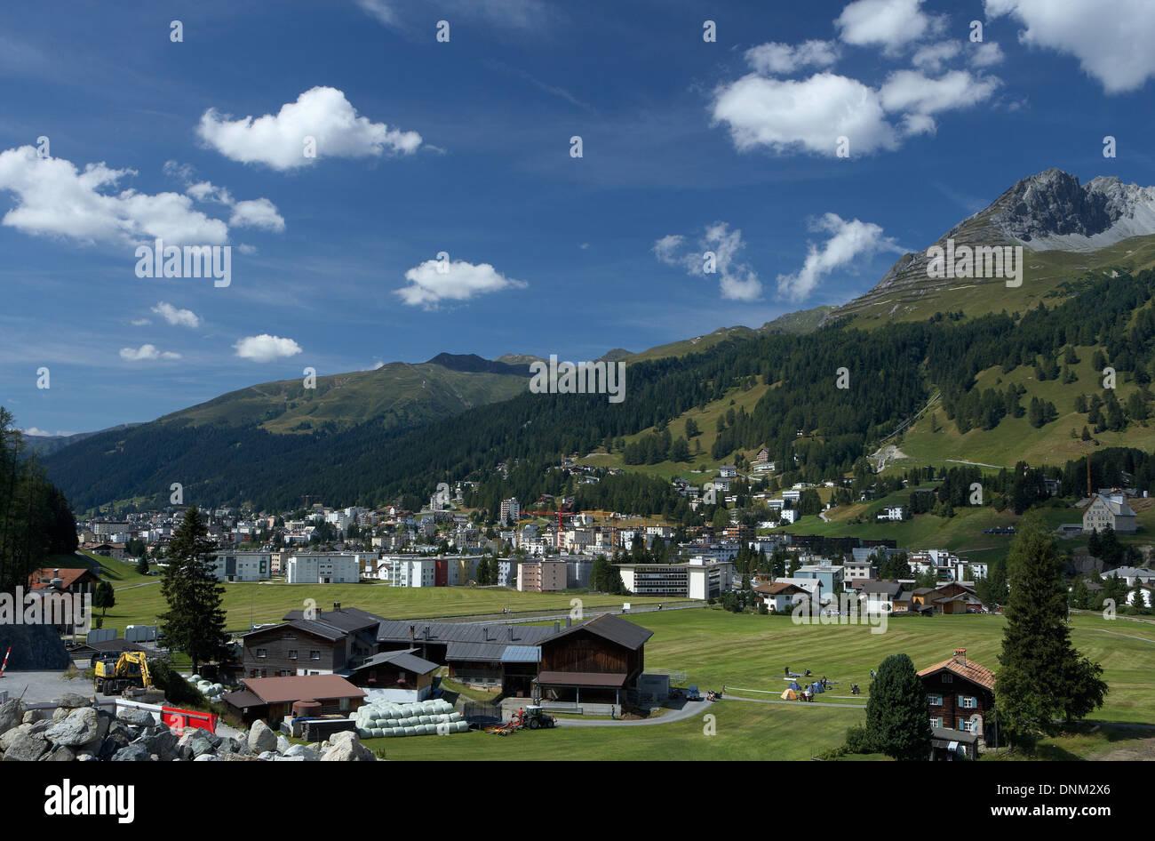 Davos, Switzerland, overlooking Davos Dorf - Stock Image