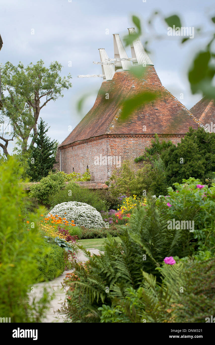 Summer borders at Great Dixter Sussex England. Stock Photo
