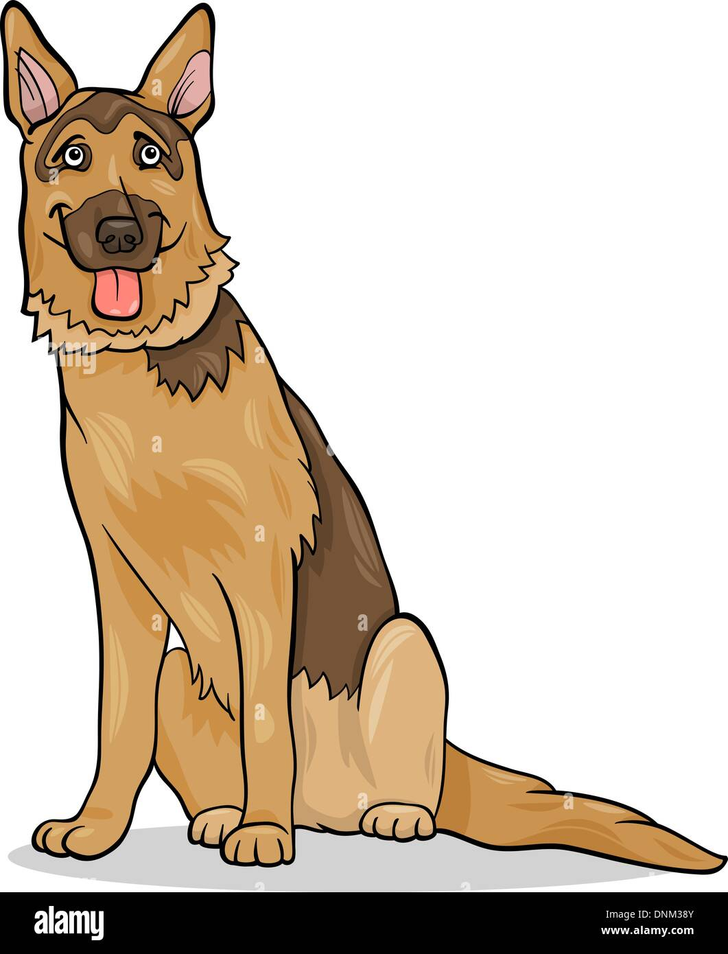 Cartoon Illustration of Funny German Shepherd Purebred Dog - Stock Vector