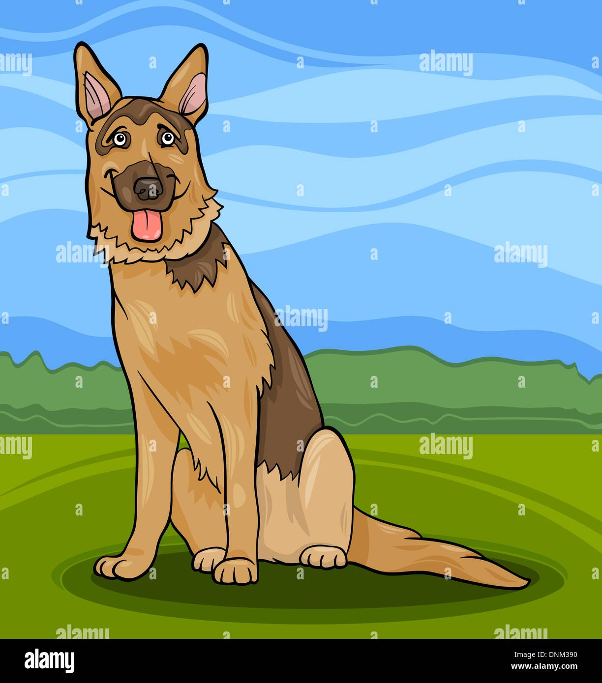 Cartoon Illustration of Funny German Shepherd or Alsatian Purebred Dog - Stock Vector