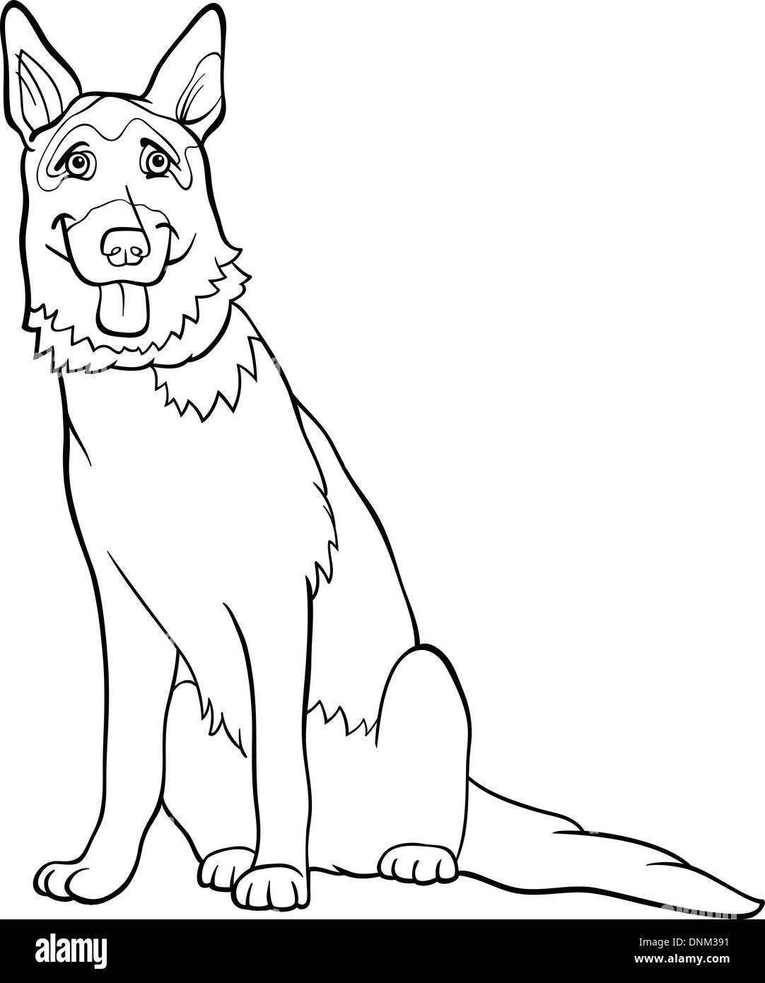 Black and White Cartoon Illustration of Funny German Shepherd Purebred Dog for Coloring Book - Stock Vector