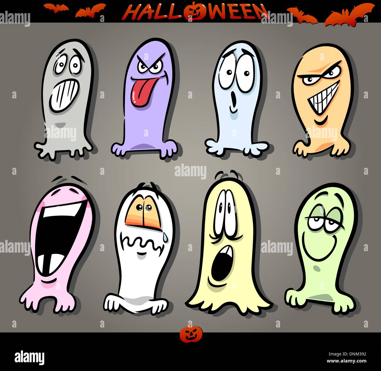 cartoon illustration of halloween themes ghosts emotions funny set