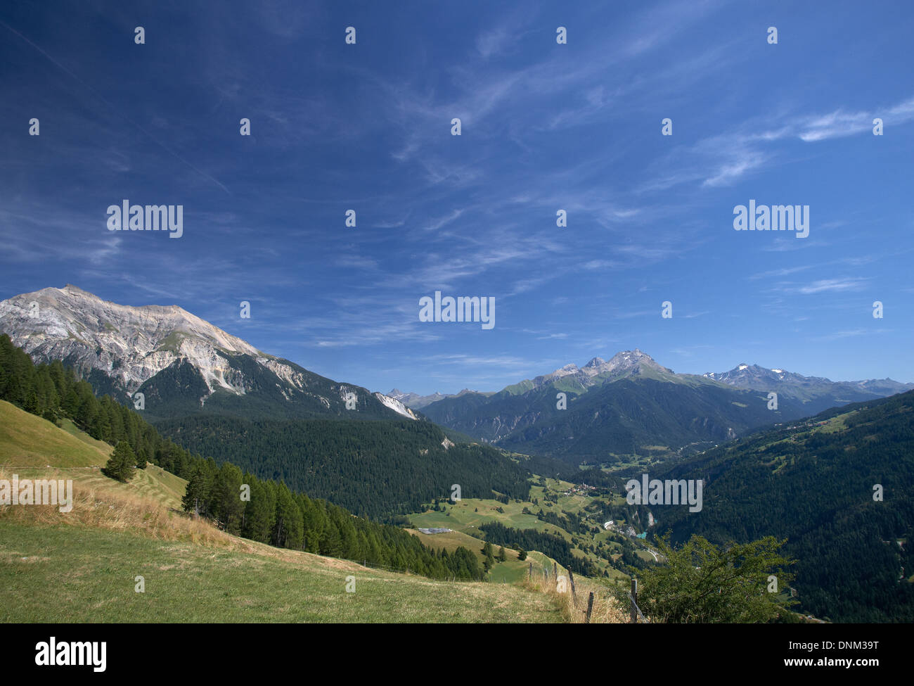 Lain, Switzerland, Looking south-east in the Albula valley - Stock Image