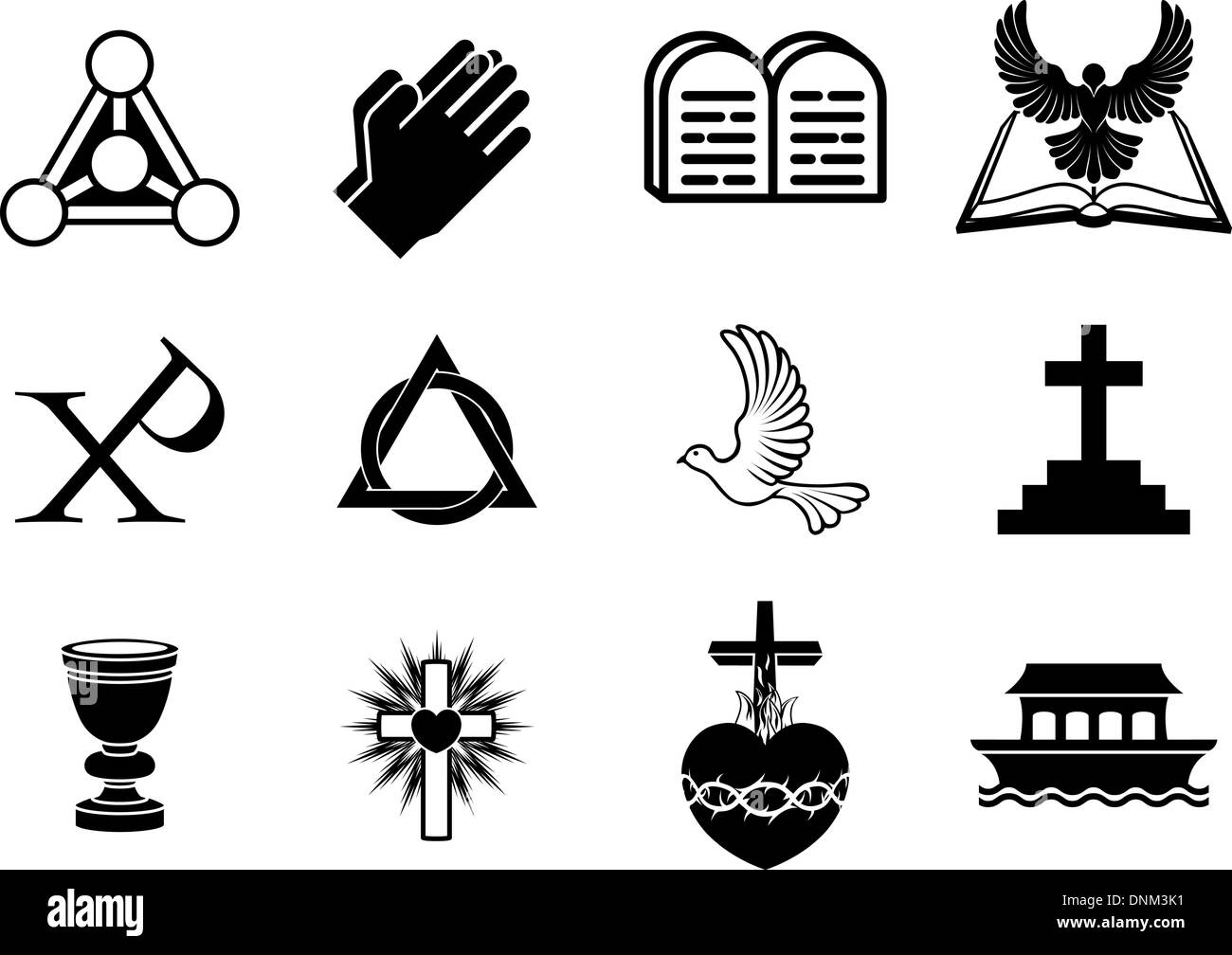 A set of Christianity icons and symbols, including dove, Chi Ro, praying hands, bible, trinity christogram, cross, communion gob - Stock Vector