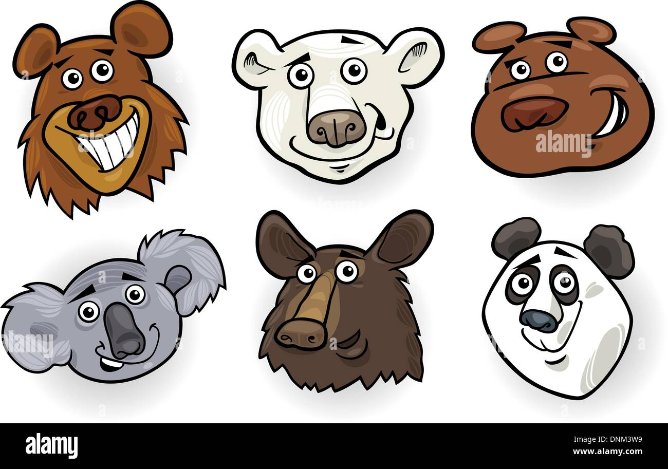 cartoon illustration of different funny bears heads set House Icon Vector Facebook Icon Vector