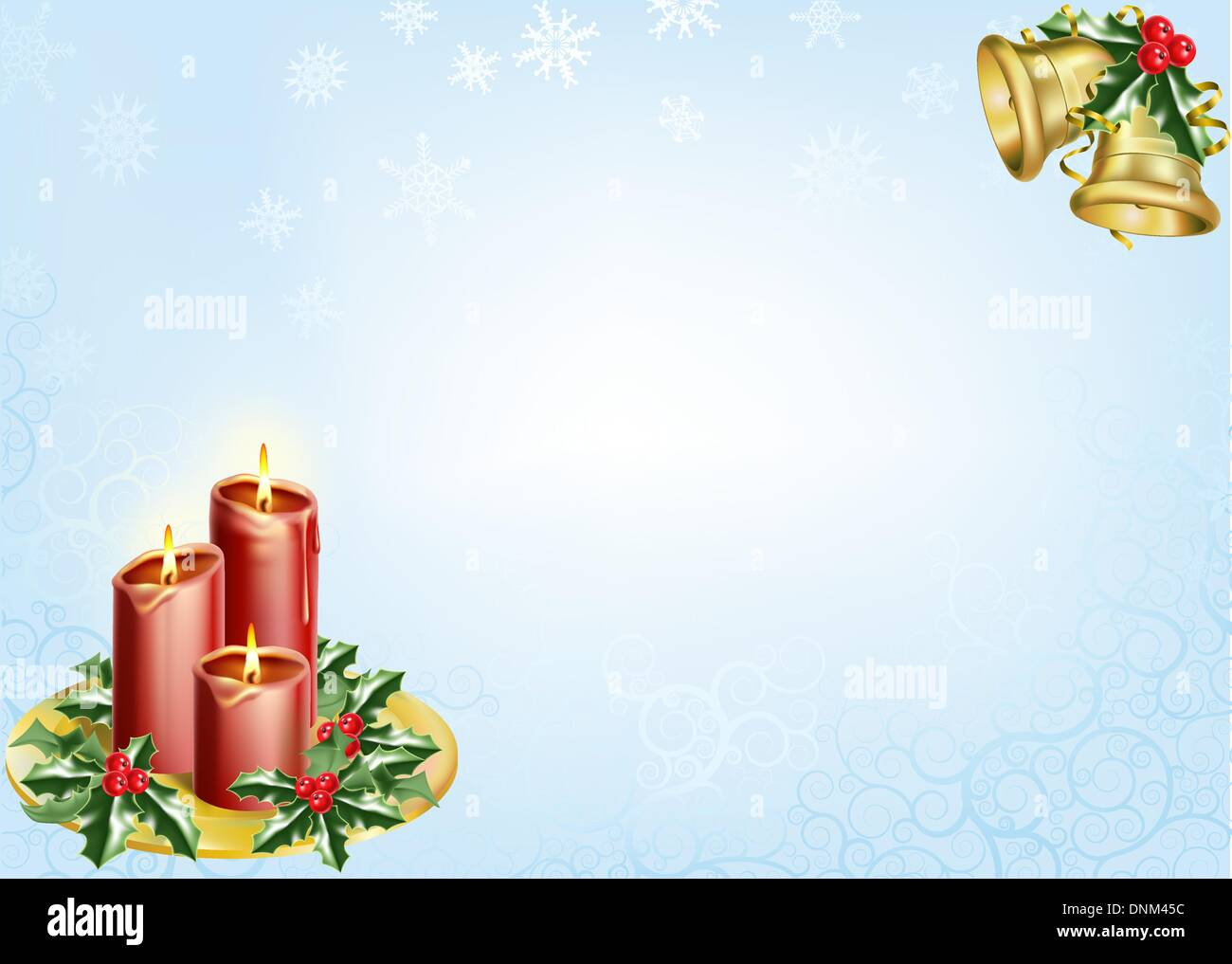 a christmas background with candles, bells and holly. - Stock Image