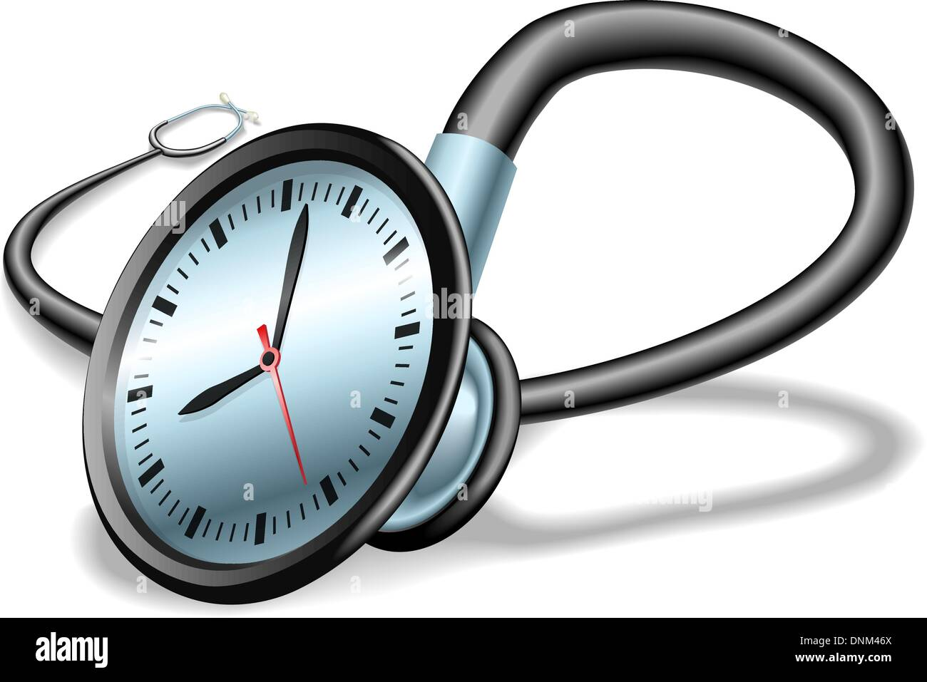 medical time concept stethoscope with clock on face concept for