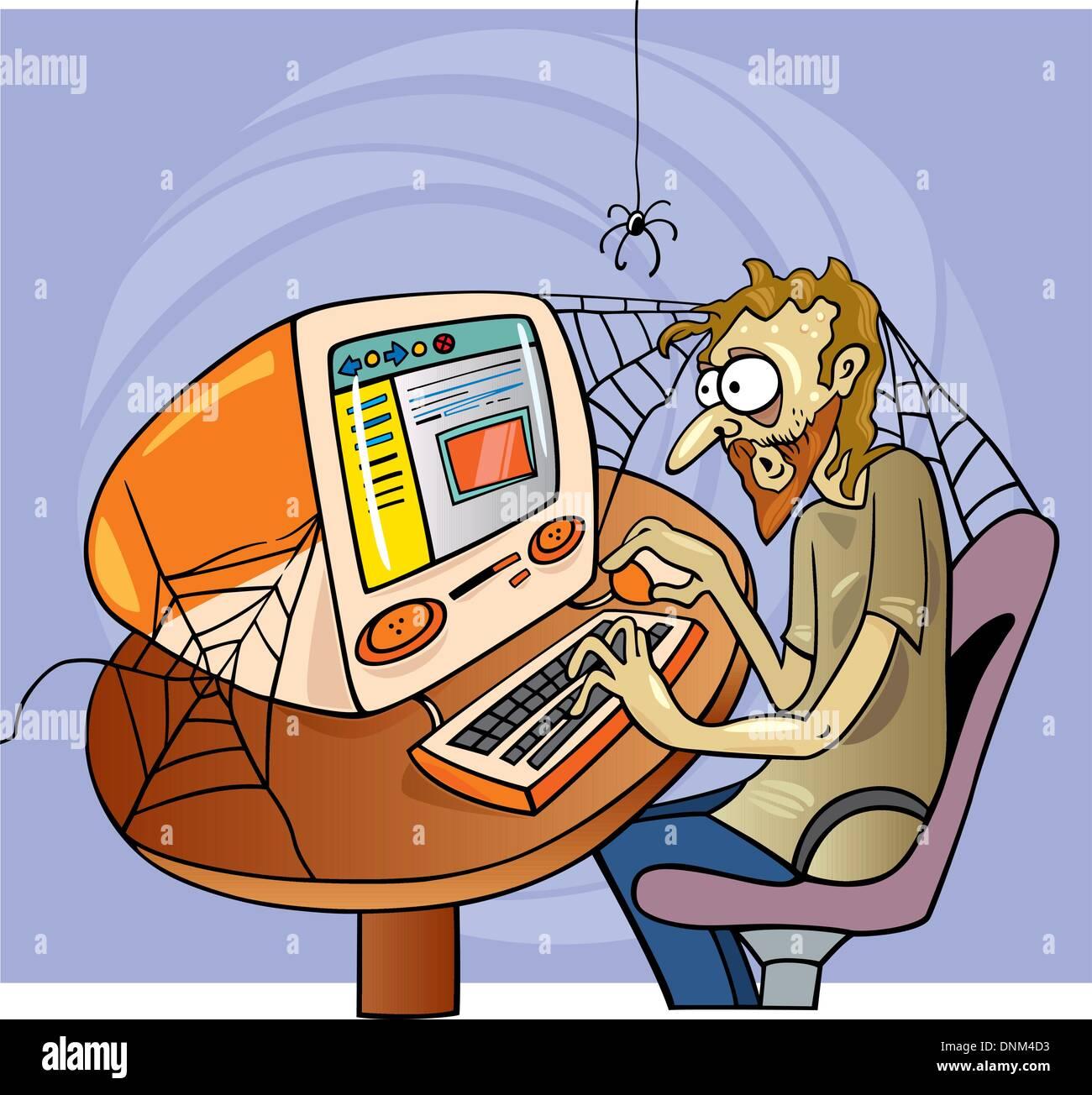 cartoon illustration of manic internet user - Stock Image