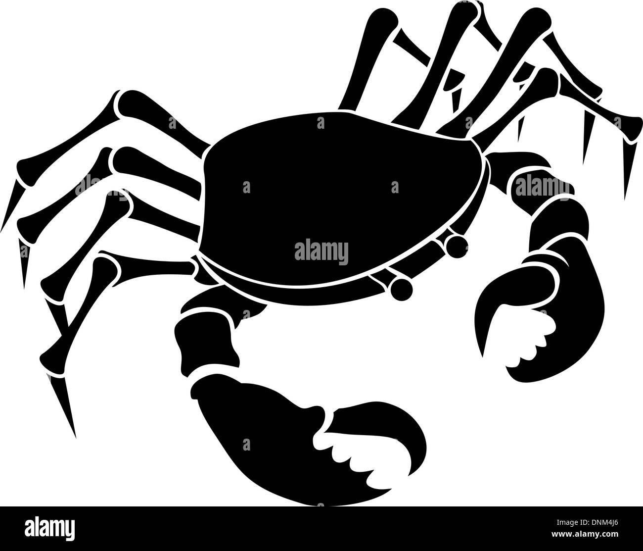 Monochrome vector illustration of a stylised Crab - Stock Vector