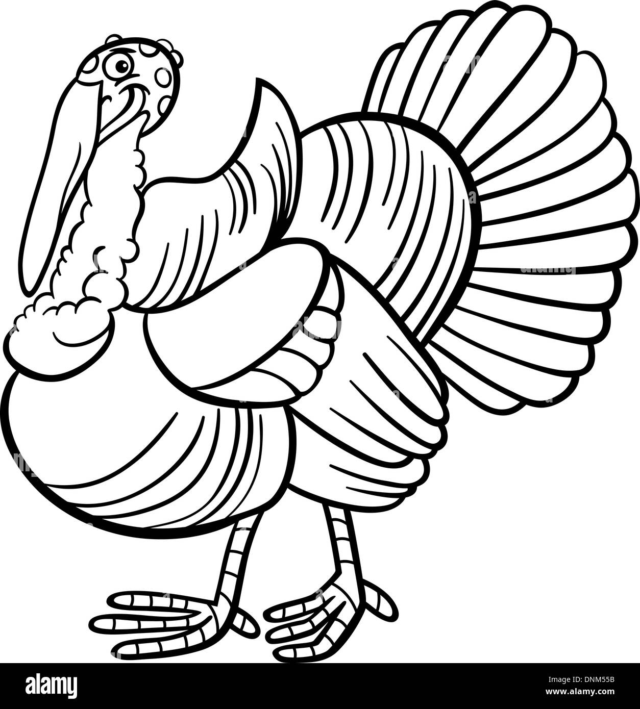 Black and White Cartoon Illustration of Funny Turkey Farm Bird Animal for Coloring Book Stock Vector