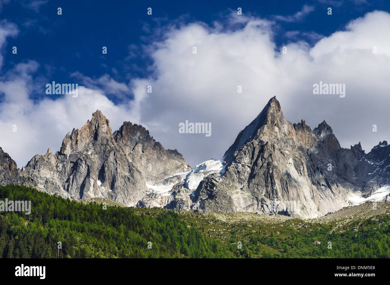 Alps Mountains, France. Outdoor scenery in Chamonis, with Aiguille de Midi ridge (3845 m) Stock Photo