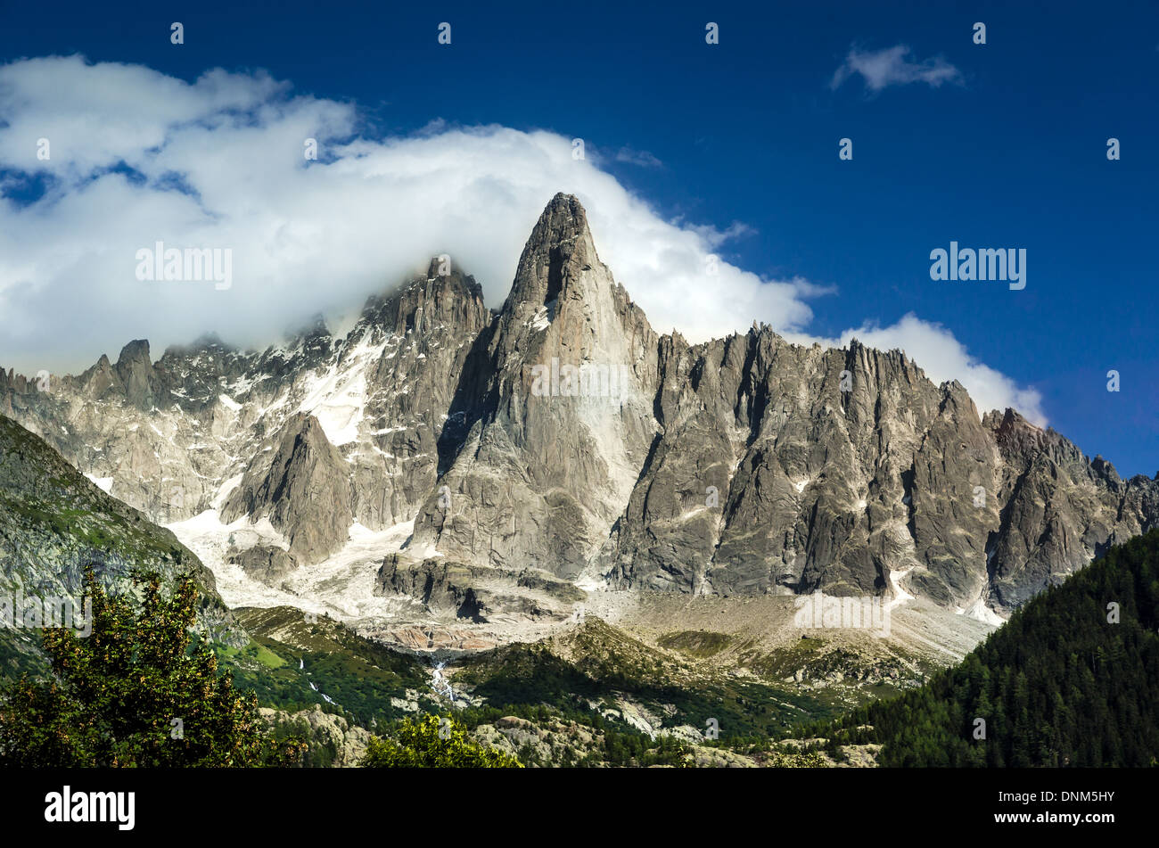 Alps Mountains, France. Outdoor scenery in Chamonis, with Aiguille de Midi ridge (3845 m) - Stock Image