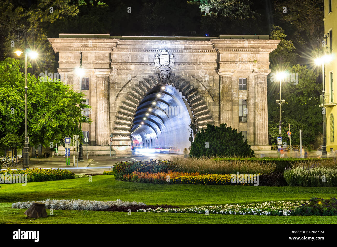 Budapest. Adam Clark Tunnel under Castle Hill provide easy access to places in Buda behind the hill. Hungary - Stock Image