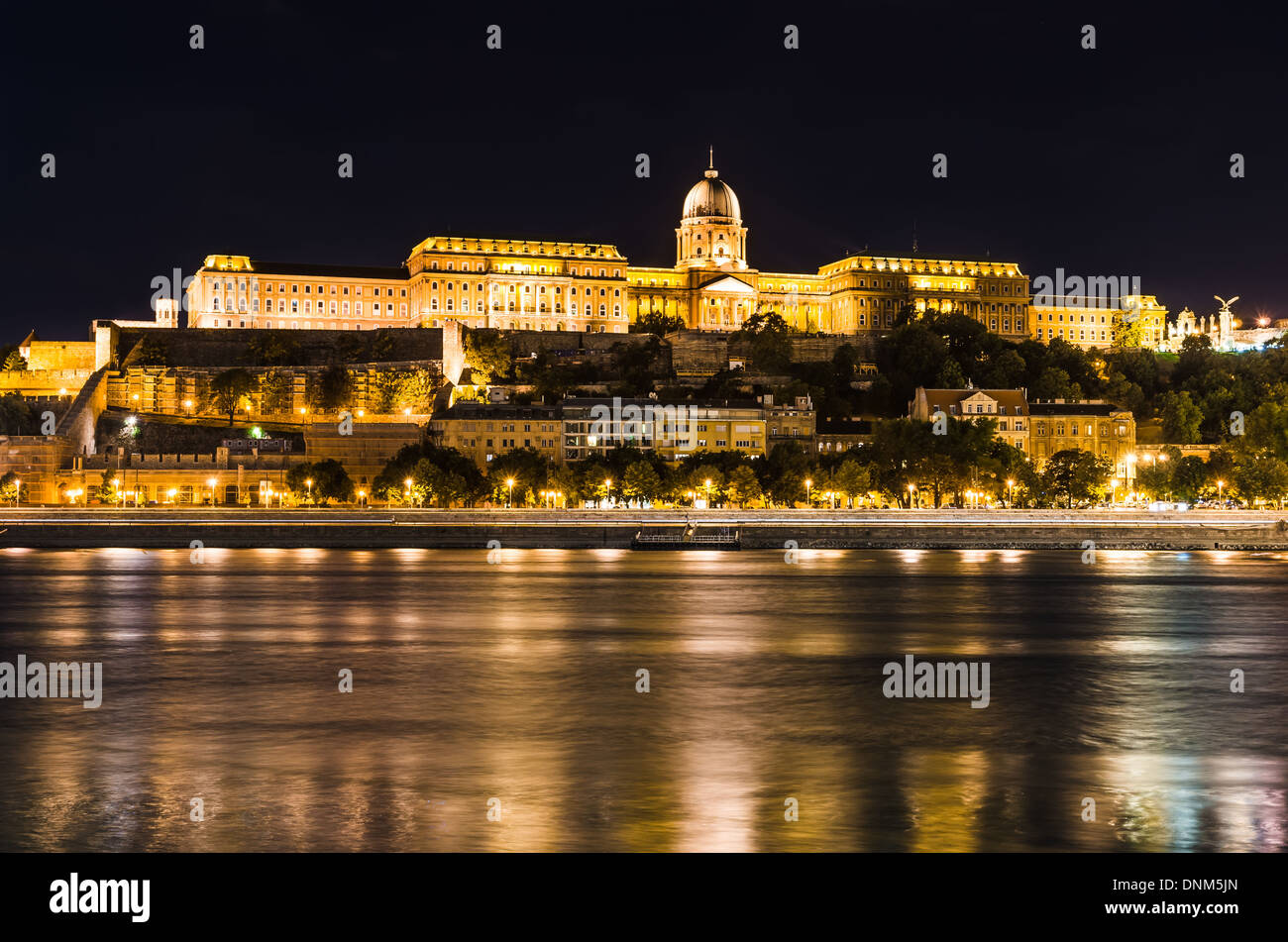 Budapest, Hungary. Night view of Buda Castle from Danube River. - Stock Image