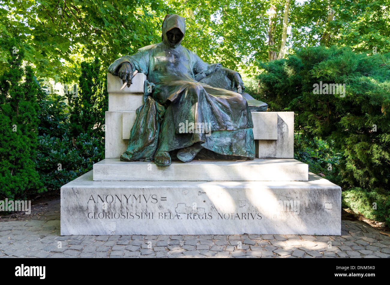 Budapest, Hungary. Statue of Anonymous built by Miklos Ligeti. The figure was chronicler to King Bela in 12th century - Stock Image