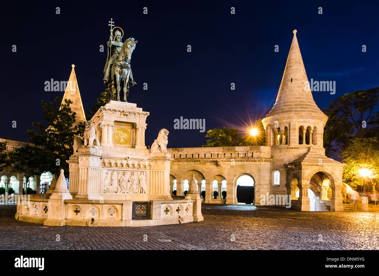 Equestrian statue and monument of Saint Stephen, erected in 1906 by architect Frigyes Schulek in Budapest, Hungary - Stock Image