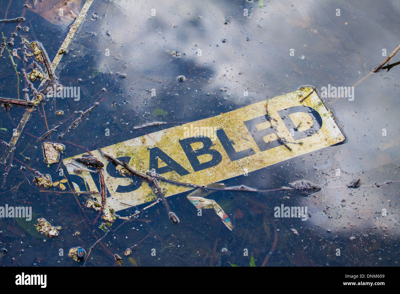 Disabled sign thrown away into pond - Stock Image