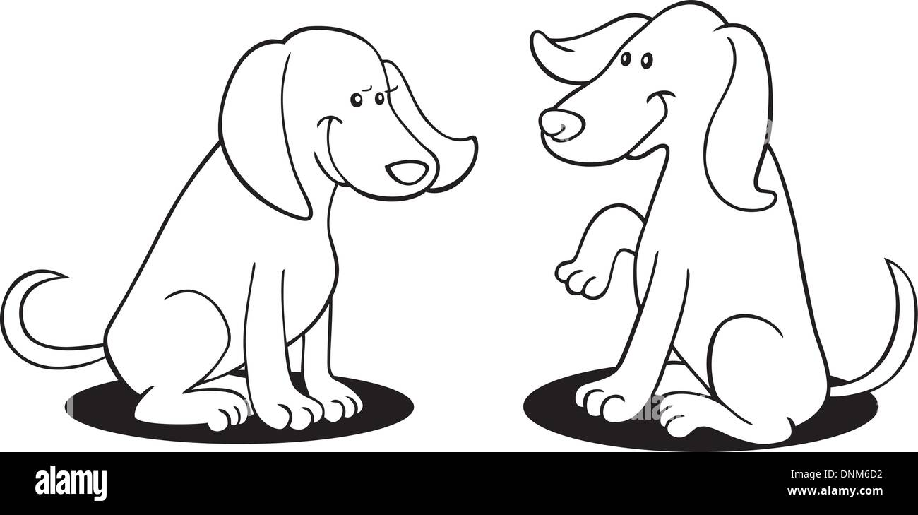 illustration of two dogs for coloring book Stock Vector Art ...