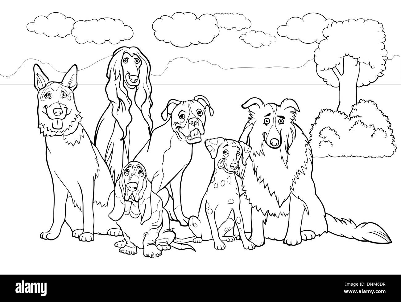 Black and White Cartoon Illustration of Cute Purebred Dogs or Puppies Group against Rural Landscape or Park Scene for Coloring B - Stock Vector
