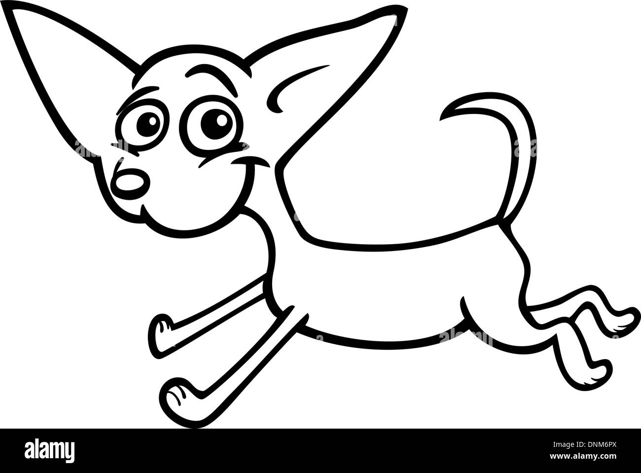 Cartoon Illustration Of Funny Purebred Running Chihuahua Dog For Coloring Book Or Page