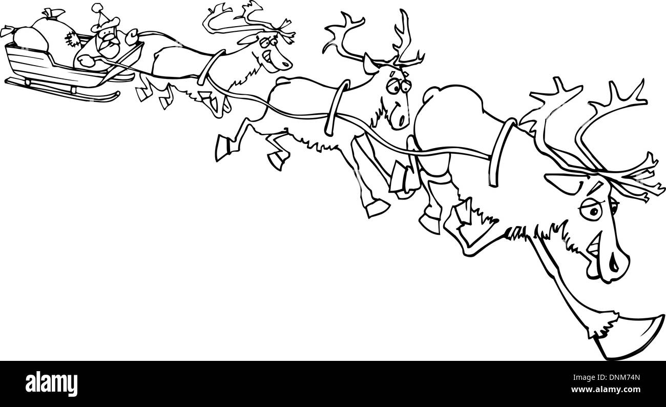 cartoon lllustration of santa claus on sledge with sacks of christmas presents and reindeer for coloring book or page - Stock Vector