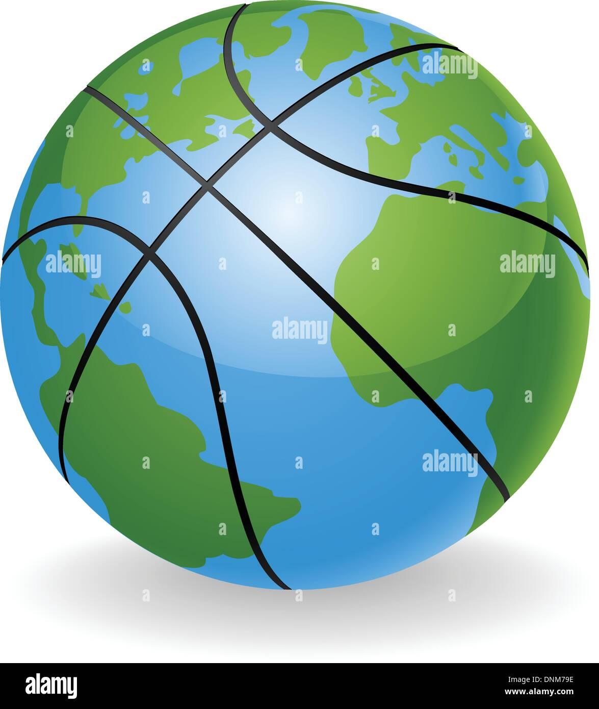 world globe basketball ball ball concept illustration stock vector