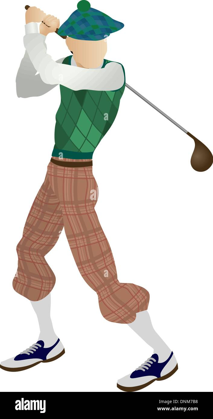 An illustration of a stylised classic golfer teeing off - Stock Image