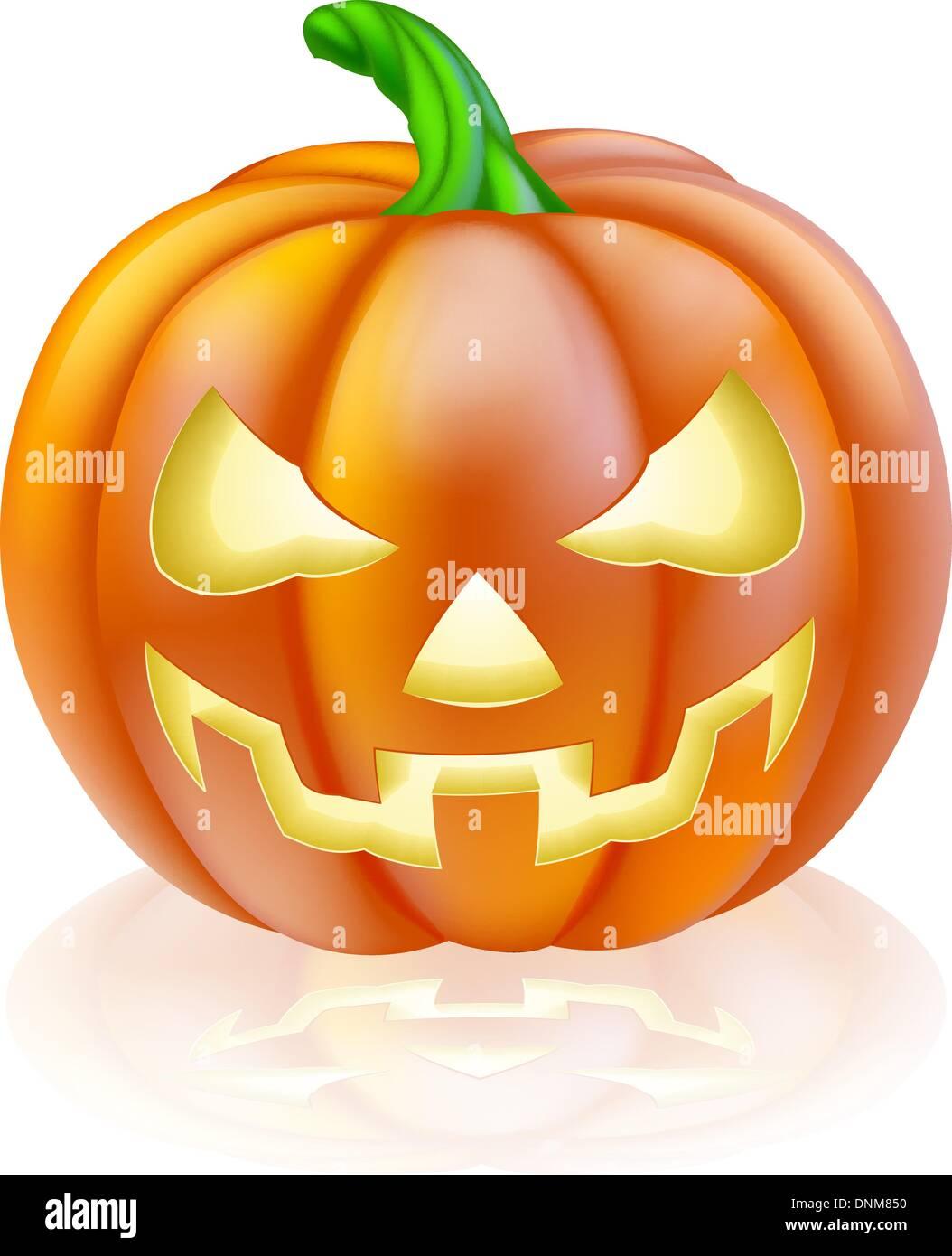 Halloween Pumpkin Drawing.A Drawing Of A Cartoon Halloween Pumpkin With Classic Scary